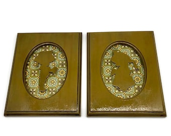 Vintage Pair of Child Silhouette Plaques