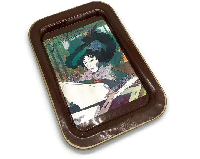 Vintage French Art Deco Lithograph Metal Tin Tray // Nevco Tray // Vintage Art Deco Retro Bar Ware Serving Tray