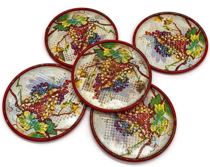 Vintage Rusty Red Grapevine Metal Coasters // Vintage Bar Ware Accessories // Hand Painted Grapes Wine