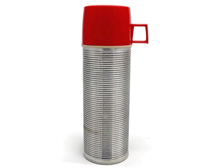 Vintage Aluminum Thermos With Red Cup