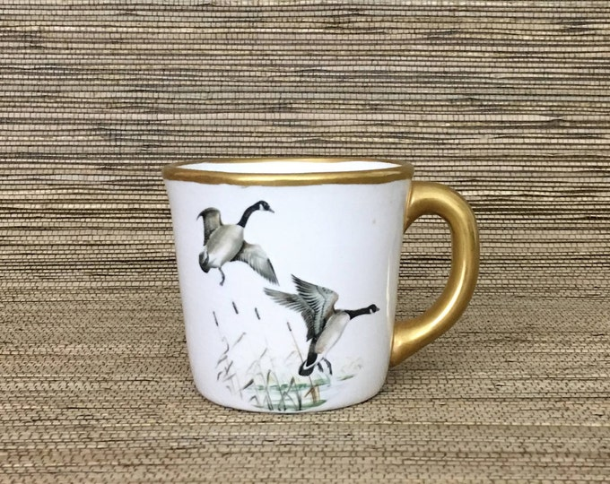 Vintage Gold Duck Geese Cup // Baby Boy Gift Idea
