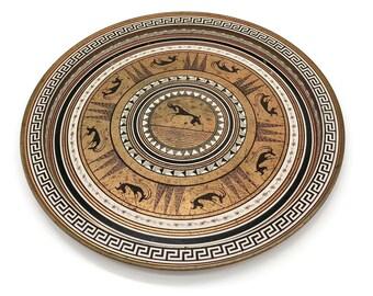 Vintage Tray - Metal Tray - Metal Round Tray - Grecian Etruscan Greek Key Bronze Metal Round Tray