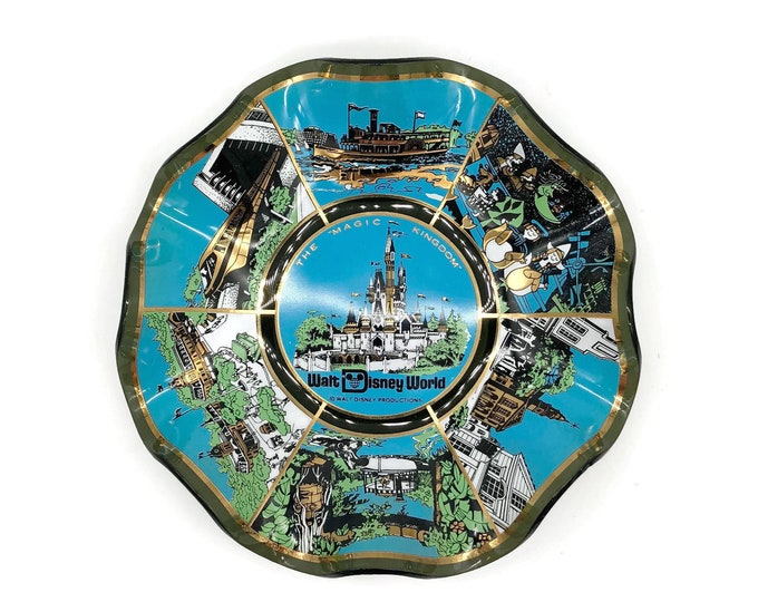 Vintage Walt Disney World Magic Kingdom Souvenir Dish from the 1970s