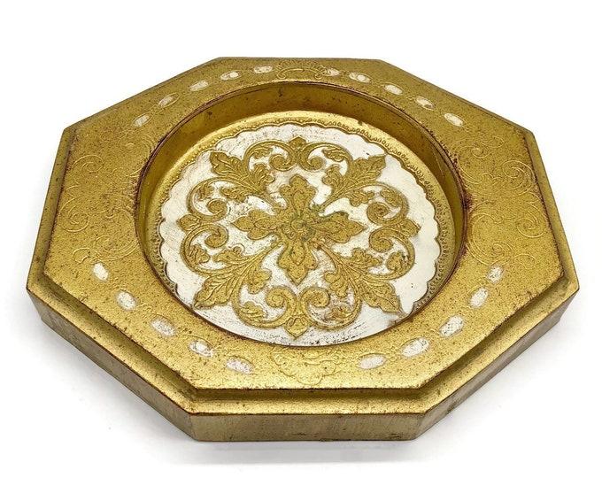Vintage Gold Florentine Italian Tray Dish - Florentine - Tray - Italian Decor - Dresser Tray - Gold Tray - Gold Dish