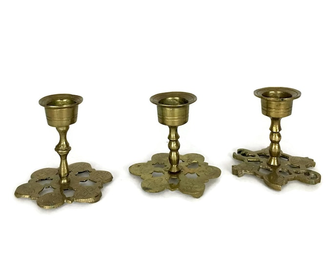 Vintage Set of 3 Small Brass Candlestick Holders