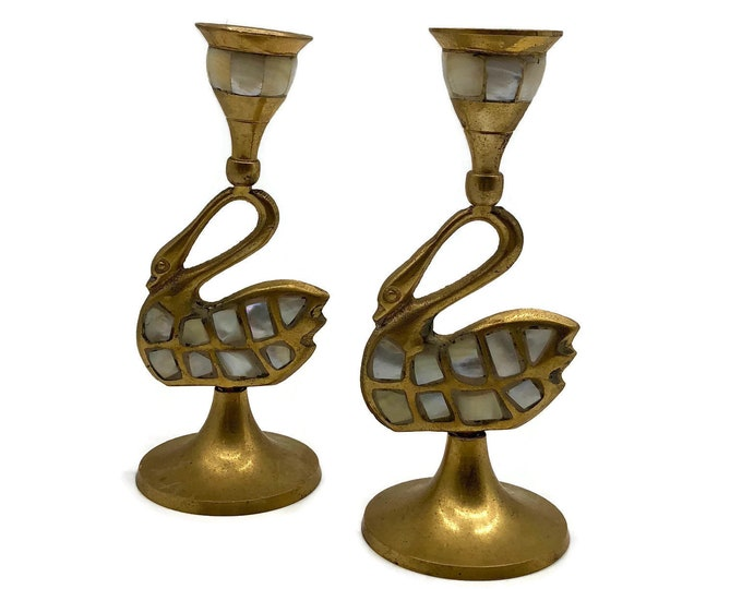 Vintage Pair of Swan Brass and Shell Candlestick Holders