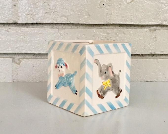 Vintage Ceramic Japanese Planter Baby Toy Block // Elephant Lamb Giraffe Bear // New Baby Gift Idea