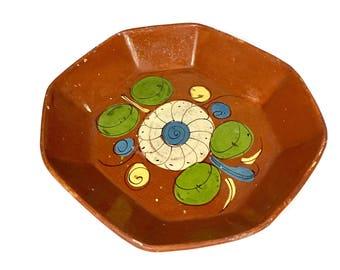 Vintage Mexican Folk Art Terracotta Large Platter