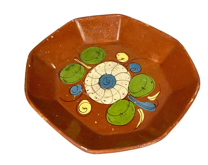 Vintage Mexican Folk Art Terracotta Large Platter