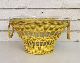 Vintage Yellow Wicker Rattan Popcorn Serving Glass Bowl