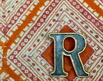 Vintage Letter Initial R Monogram Lapel Pin Brooch Jewelry // Personalized Gift for Her