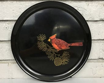 Vintage Black Couroc Red Bird Holiday Christmas Winter Platter Tray Bar Serving Hostess Housewarming Gift