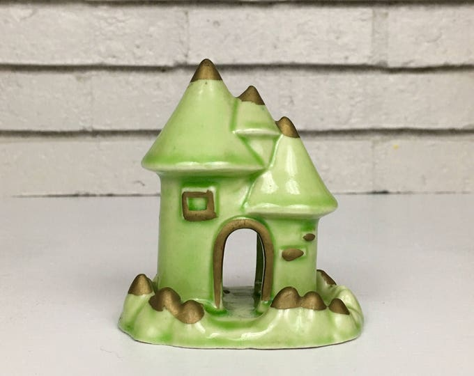 Vintage Green and Gold Japanese Ceramic Pottery House Castle