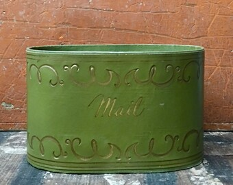 Vintage Mid Century Green and Gold Faux Leather Mail Caddy Desk Organizer // Mid Century Desk Office Prop