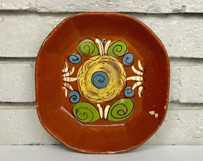 Vintage Mexican Folk Art Terracotta Pottery Platter Serving Dish Bowl Flower Floral