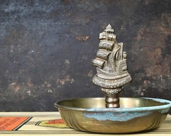 Vintage Brass English Galleon Dish