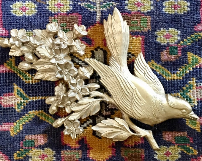 Vintage Gold Bird Floral Wall Hanging // Boho Regency Mid Century 1960s Gallery Wall