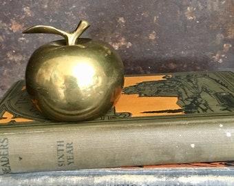 Vintage Brass Apple Hand Bell // Brass Apple Teacher Gift // Brass Fruit