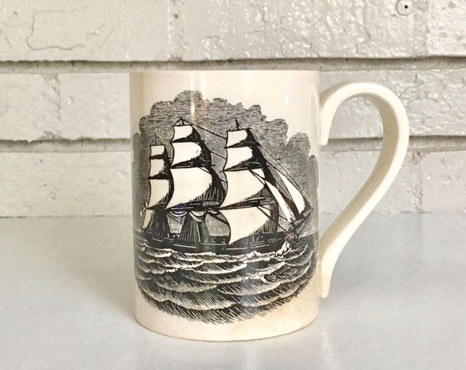 Vintage Black Ship Sailing Portmeirion Pottery Mug // Oversized Large Pottery Mug // Nautical Pottery Ceramic // Made in England