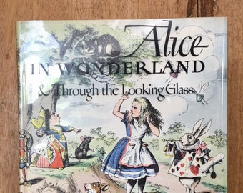 "Vintage ""Alice in Wonderland Through the Looking Glass"" Hardcover Book"