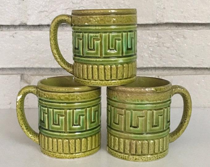 Vintage Set of Japanese Mugs // Green Ceramic // Greek Key // Creative Office Decor