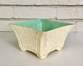 Vintage Terrazzo Glaze Ceramic USA Pottery Modern Indoor Succulent Planter  // Ivory And Aqua Mid Century Desk Catchall Footed Planter