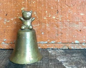 Vintage Brass Teddy Bear Hand Bell // Baby Gift Idea // Brass Nursery Décor // Birthday Gift