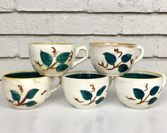 Vintage Set of 5 Stangl Pottery Terra Rose Fruit Brown Rim Teacups // Discontinued China Pattern // New Jersey USA Made