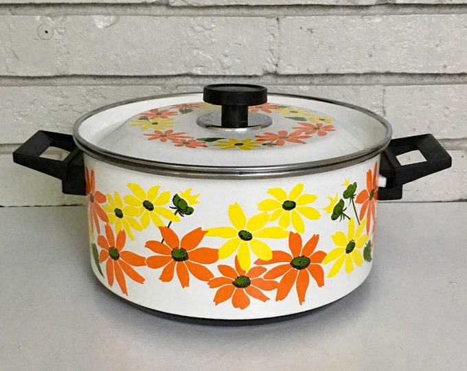 Vintage Ekco Country Garden Floral 1970s Stock Pot