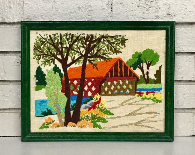 Vintage Framed Crewel Farm House Scene
