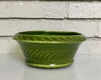 Vintage Mossy Green Haeger Pottery Ceramic Bowl Dish Planter // Housewarming Hostess Garden Gift