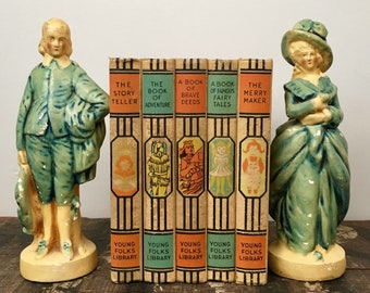 Vintage Pair of French Chalkware Statues