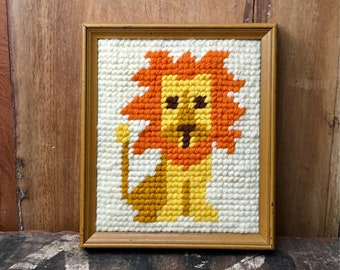Vintage Framed Lion Needlepoint Wall Décor // Yarn Craft Handicraft // Zoo Circus