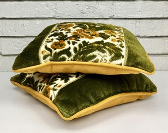 Vintage Pair of Mossy Green and Goldenrod Yellow Velvet Botanical Pillows