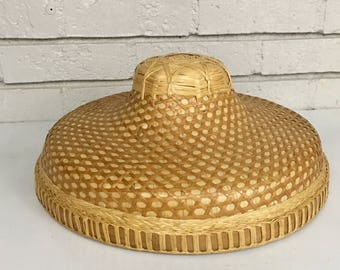 Vintage Straw Asian Basket Woven Hat // Wall Gallery Décor // Boho Decor
