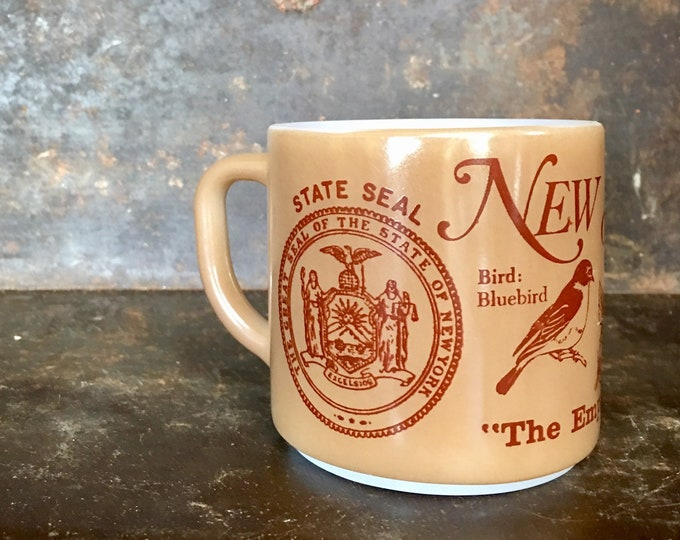 Vintage NYC Empire State Souvenir Milk Glass Collectible Mug
