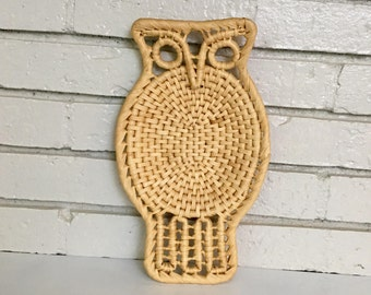 Vintage Woven Basket Owl Wall Hanging