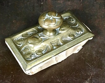 Antique Brass and Wood Ornate Ink Blotter
