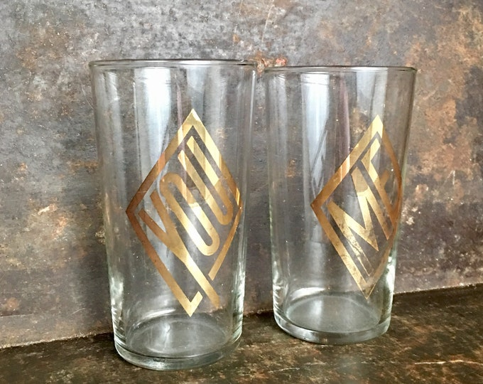 "Vintage Art Deco ""You and Me"" Glasses"