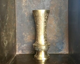 Vintage Etched Floral Brass Fluted Vase // Indian Brass // Brass Collection Grouping Display // Wedding Gift // Anniversary Gift