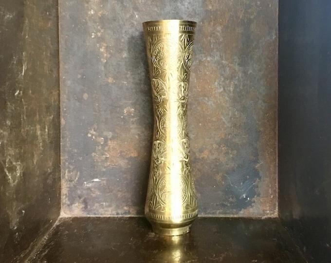 Vintage Etched Brass Peacock Fluted Vase