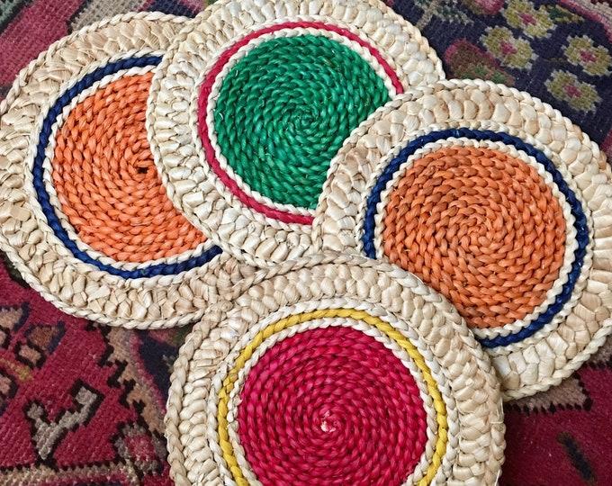 Vintage Set of 4 Boho Natural Woven Kitchen Trivets