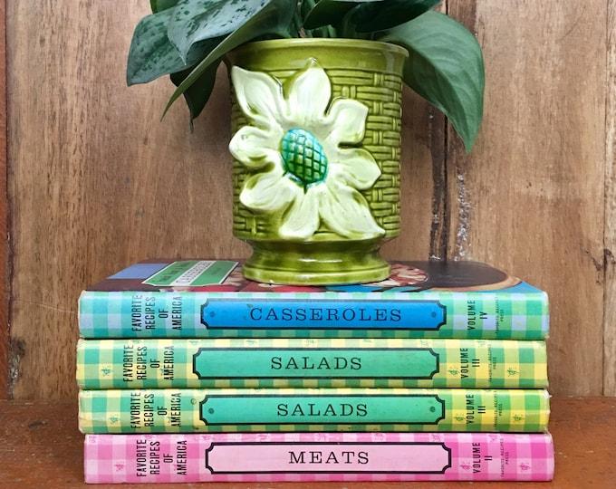Vintage Favorite Recipes of America Cookbooks // Kitchen Decor // 1960s Cookbooks // Gingham