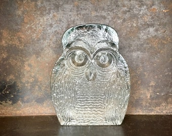 Vintage Clear Glass Blenko Owl