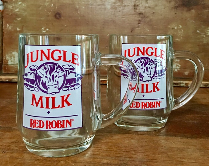 Vintage Pair of Red Robin Jungle Milk Glass Mugs