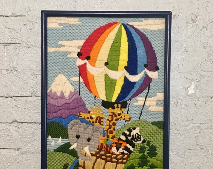 Vintage Hot Air Balloon & Zoo Animal Handmade Crewel