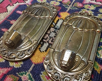 Vintage Pair of Gold Ceramic Wall Sconces