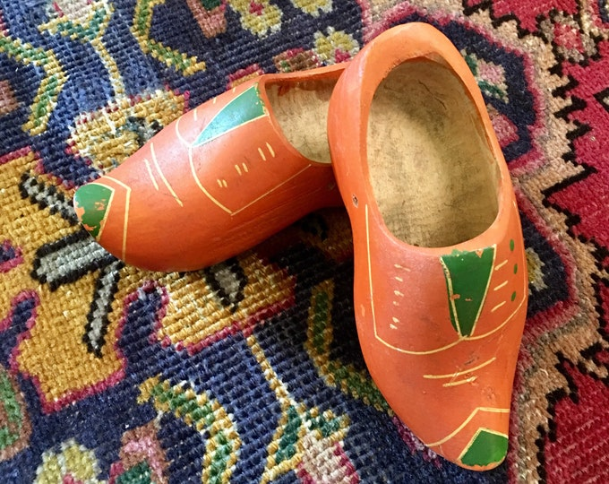 Vintage Pair of Hand Painted Children's Wooden Clogs