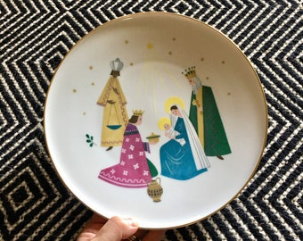 Vintage Mid Century Modern Nativity Christmas Plate