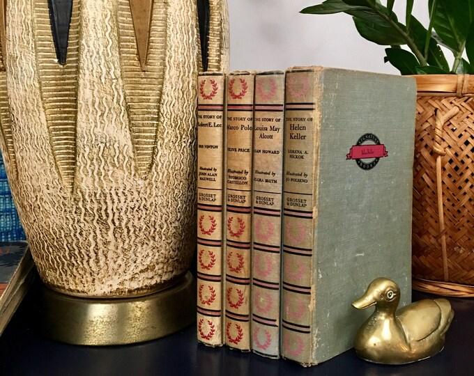 Vintage Signature Book Series // Historical Biographical Books // Marco Polo / Lafayette / Robert E Lee / Helen Keller / Louisa May Alcott